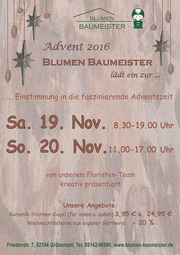 Advent 2016 bei Blumen Baumeister in Gröbenzell
